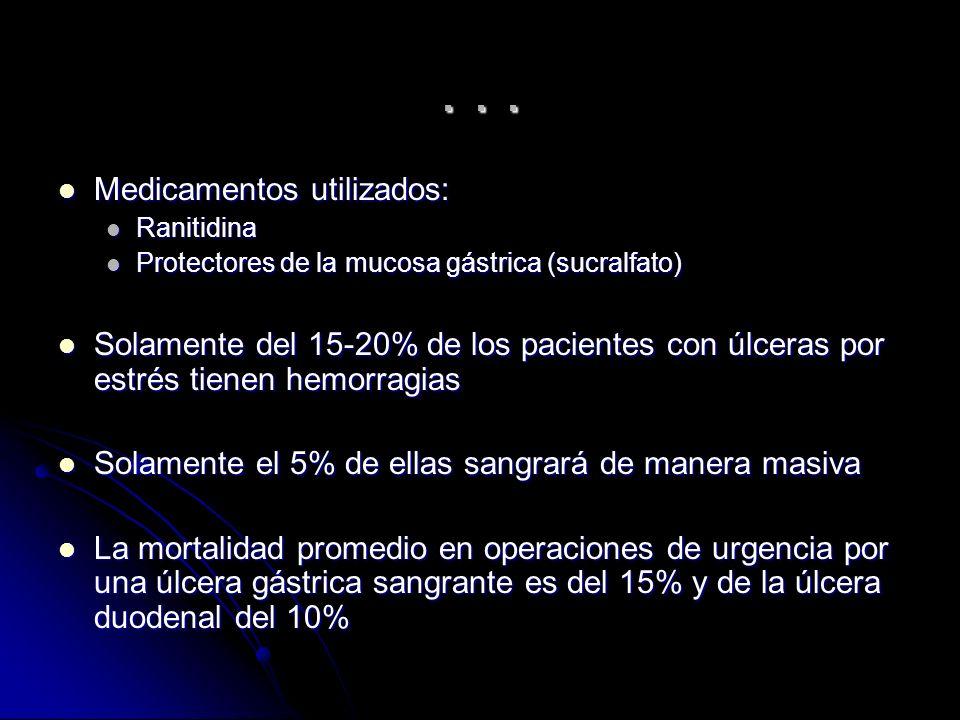 ... Medicamentos utilizados: Medicamentos utilizados: Ranitidina Ranitidina Protectores de la mucosa gástrica (sucralfato) Protectores de la mucosa gá