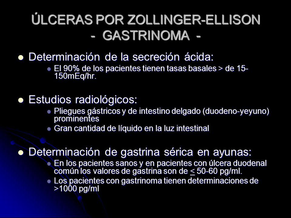 ÚLCERAS POR ZOLLINGER-ELLISON - GASTRINOMA - Determinación de la secreción ácida: Determinación de la secreción ácida: El 90% de los pacientes tienen