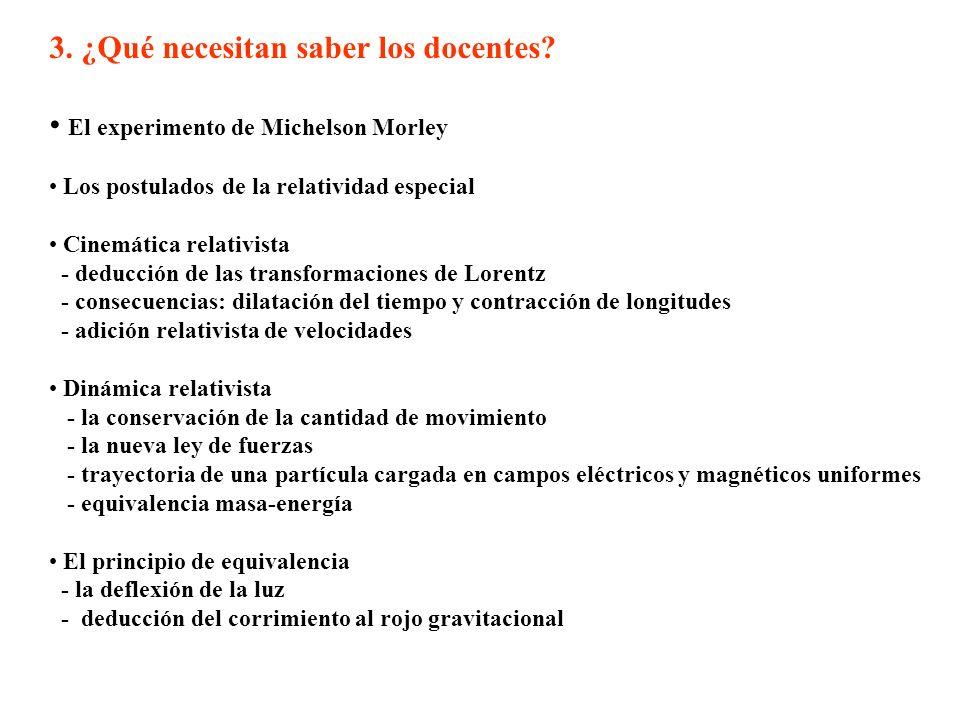 3. ¿Qué necesitan saber los docentes? El experimento de Michelson Morley Los postulados de la relatividad especial Cinemática relativista - deducción