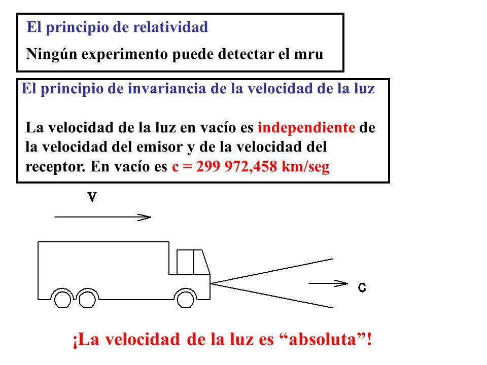 El principio de relatividad Ningún experimento puede detectar el mru El principio de invariancia de la velocidad de la luz La velocidad de la luz en v