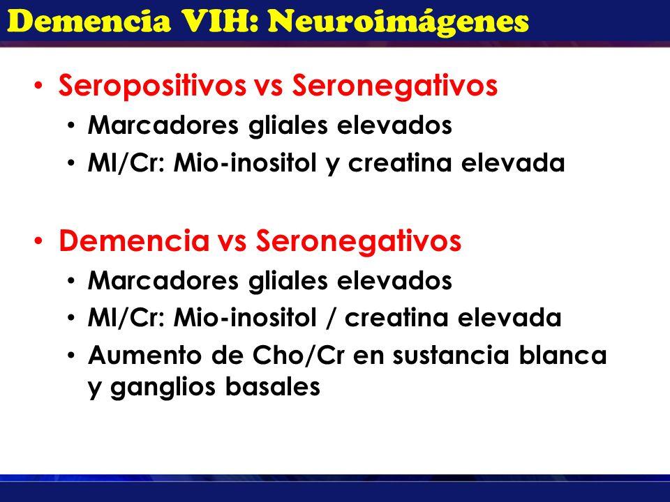 Demencia VIH: Neuroimágenes Seropositivos vs Seronegativos Marcadores gliales elevados MI/Cr: Mio-inositol y creatina elevada Demencia vs Seronegativo