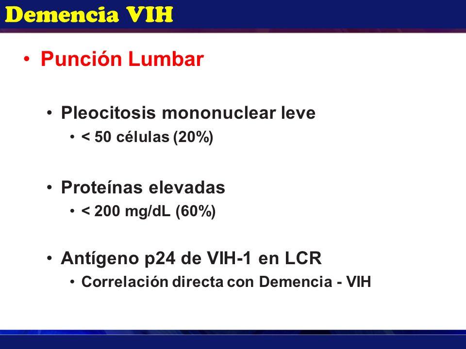 Demencia VIH Punción Lumbar Pleocitosis mononuclear leve < 50 células (20%) Proteínas elevadas < 200 mg/dL (60%) Antígeno p24 de VIH-1 en LCR Correlac
