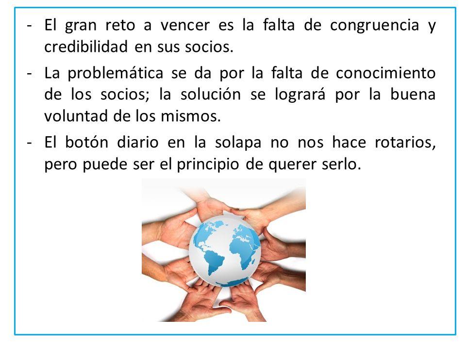 -El gran reto a vencer es la falta de congruencia y credibilidad en sus socios. -La problemática se da por la falta de conocimiento de los socios; la