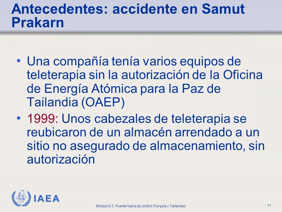 IAEA Módulo 6.3. Fuente fuera de control (Turquía y Tailandia) 11 Antecedentes: accidente en Samut Prakarn Una compañía tenía varios equipos de telete