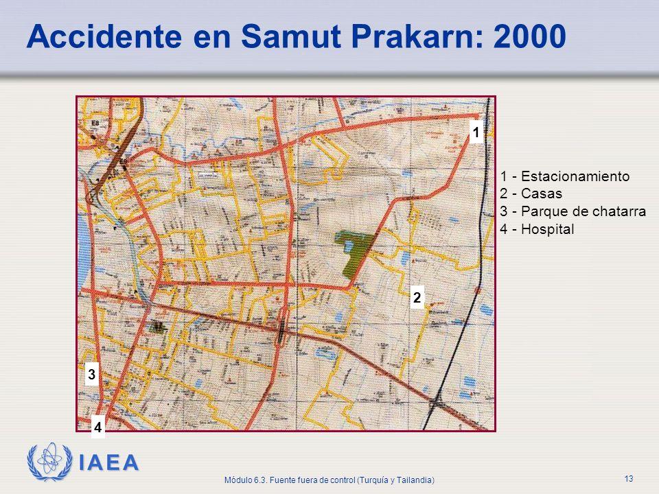 IAEA Módulo 6.3. Fuente fuera de control (Turquía y Tailandia) 13 1 - Estacionamiento 2 - Casas 3 - Parque de chatarra 4 - Hospital Accidente en Samut