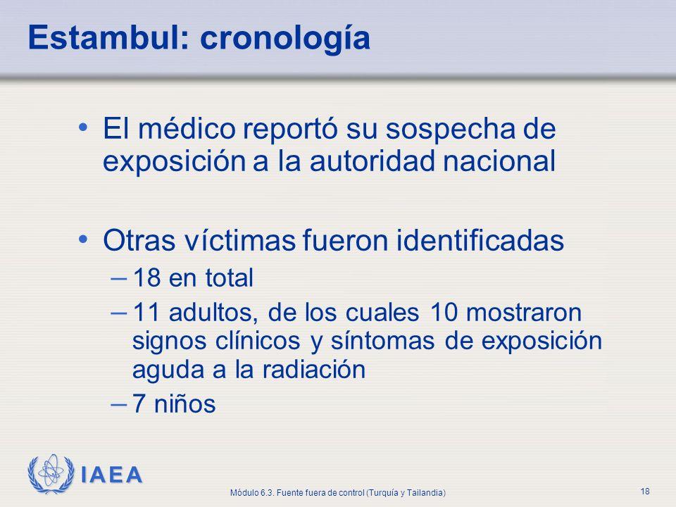 IAEA Módulo 6.3. Fuente fuera de control (Turquía y Tailandia) 18 El médico reportó su sospecha de exposición a la autoridad nacional Otras víctimas f