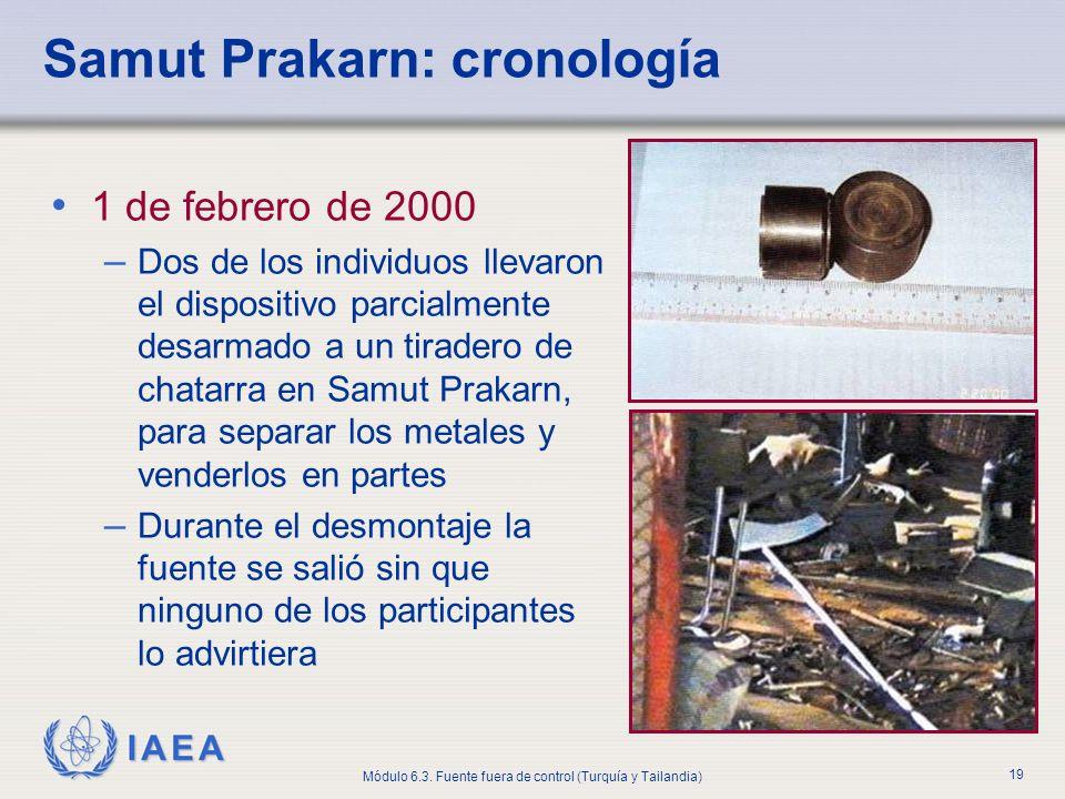 IAEA Módulo 6.3. Fuente fuera de control (Turquía y Tailandia) 19 Samut Prakarn: cronología 1 de febrero de 2000 – Dos de los individuos llevaron el d