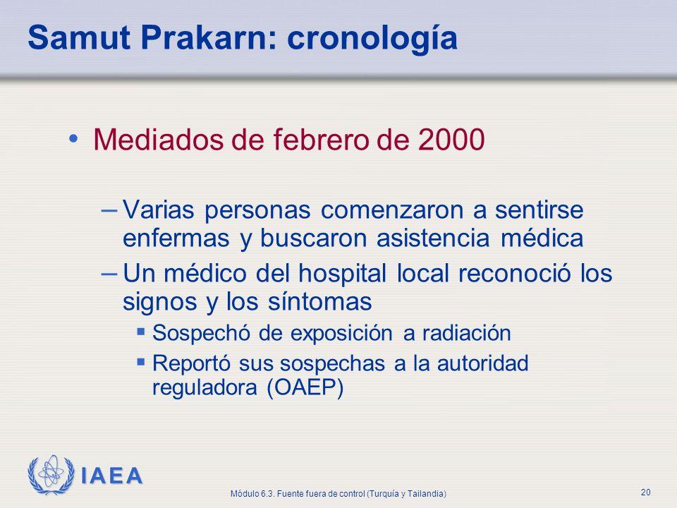 IAEA Módulo 6.3. Fuente fuera de control (Turquía y Tailandia) 20 Mediados de febrero de 2000 – Varias personas comenzaron a sentirse enfermas y busca