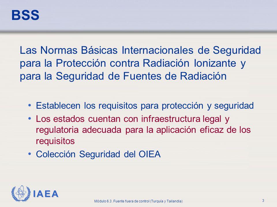 IAEA Módulo 6.3. Fuente fuera de control (Turquía y Tailandia) 3 BSS Las Normas Básicas Internacionales de Seguridad para la Protección contra Radiaci
