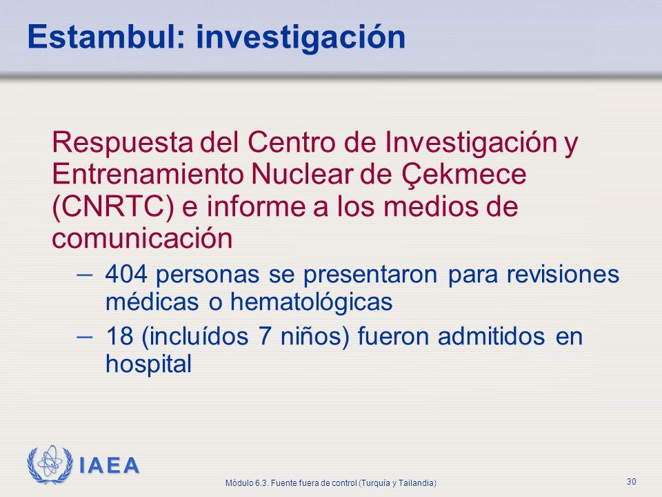 IAEA Módulo 6.3. Fuente fuera de control (Turquía y Tailandia) 30 Estambul: investigación Respuesta del Centro de Investigación y Entrenamiento Nuclea