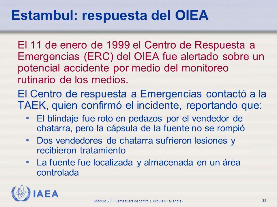 IAEA Módulo 6.3. Fuente fuera de control (Turquía y Tailandia) 32 Estambul: respuesta del OIEA El 11 de enero de 1999 el Centro de Respuesta a Emergen