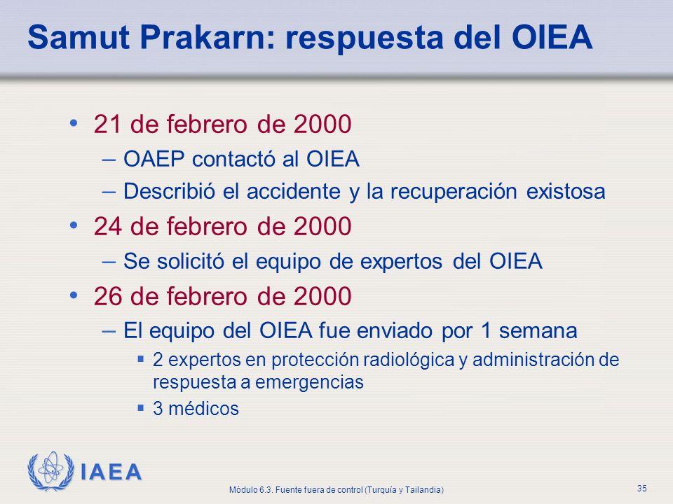 IAEA Módulo 6.3. Fuente fuera de control (Turquía y Tailandia) 35 Samut Prakarn: respuesta del OIEA 21 de febrero de 2000 – OAEP contactó al OIEA – De