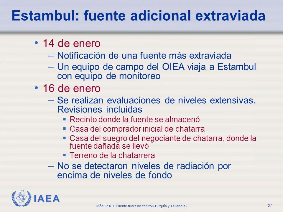 IAEA Módulo 6.3. Fuente fuera de control (Turquía y Tailandia) 37 Estambul: fuente adicional extraviada 14 de enero – Notificación de una fuente más e