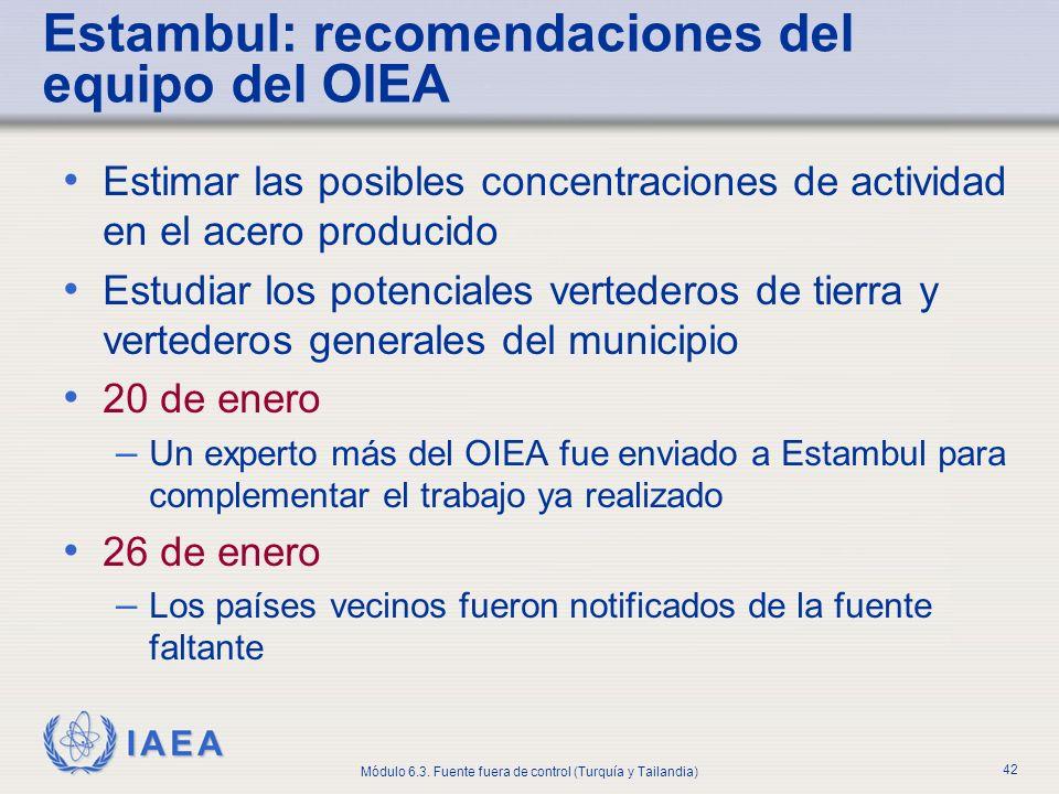 IAEA Módulo 6.3. Fuente fuera de control (Turquía y Tailandia) 42 Estimar las posibles concentraciones de actividad en el acero producido Estudiar los