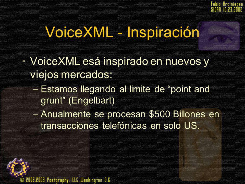 VoiceXML - Inspiración VoiceXML esá inspirado en nuevos y viejos mercados: –Estamos llegando al limite de point and grunt (Engelbart) –Anualmente se p