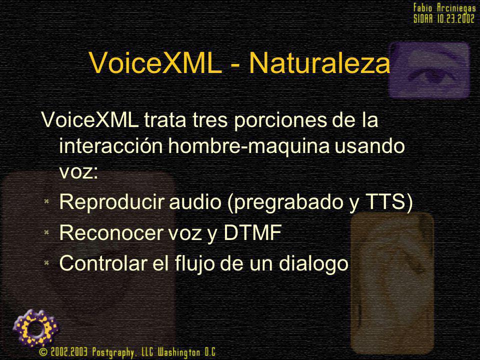 VoiceXML - Naturaleza VoiceXML trata tres porciones de la interacción hombre-maquina usando voz: Reproducir audio (pregrabado y TTS) Reconocer voz y D