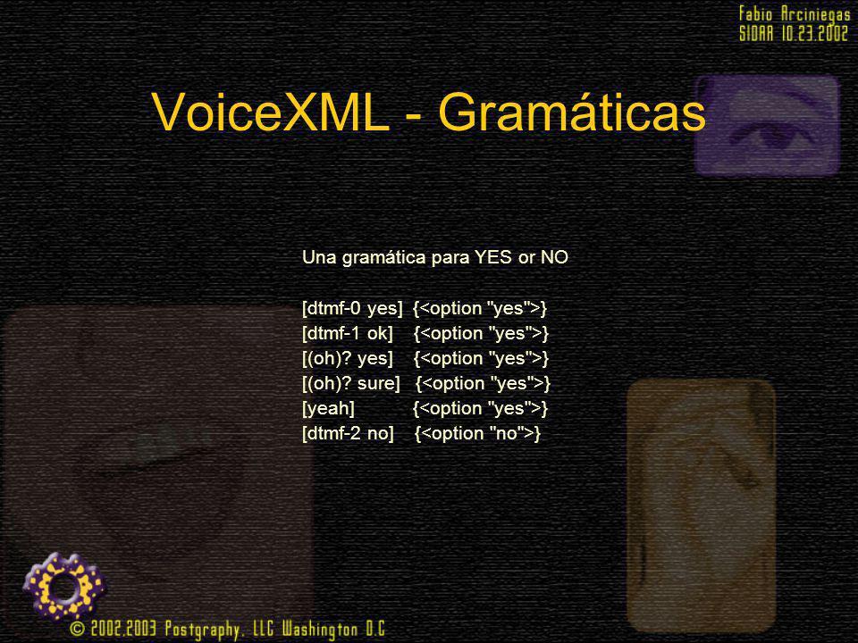 VoiceXML - Gramáticas Una gramática para YES or NO [dtmf-0 yes] { } [dtmf-1 ok] { } [(oh)? yes] { } [(oh)? sure] { } [yeah] { } [dtmf-2 no] { }