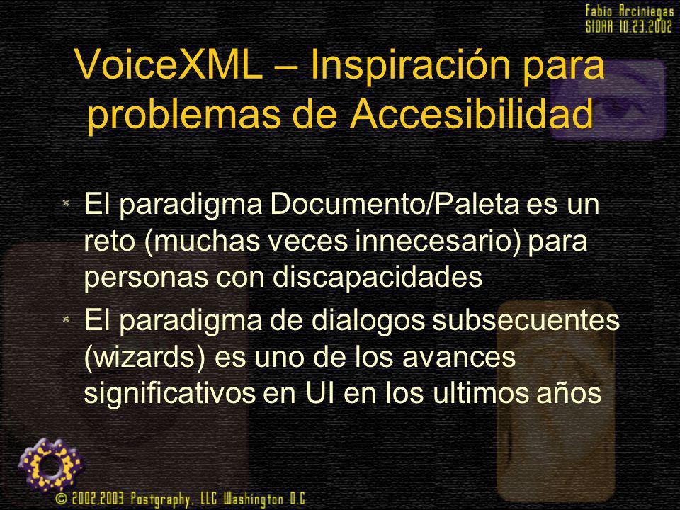 VoiceXML – Inspiración para problemas de Accesibilidad El paradigma Documento/Paleta es un reto (muchas veces innecesario) para personas con discapaci