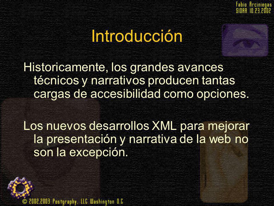 Introducción Historicamente, los grandes avances técnicos y narrativos producen tantas cargas de accesibilidad como opciones. Los nuevos desarrollos X