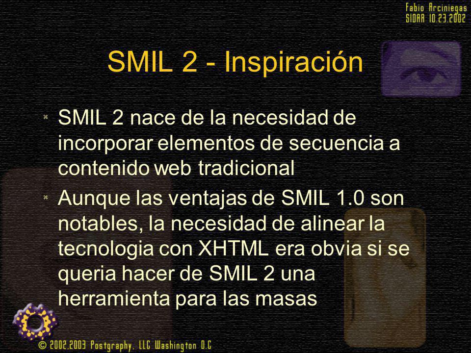 SMIL 2 - Inspiración SMIL 2 nace de la necesidad de incorporar elementos de secuencia a contenido web tradicional Aunque las ventajas de SMIL 1.0 son