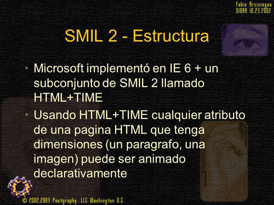 SMIL 2 - Estructura Microsoft implementó en IE 6 + un subconjunto de SMIL 2 llamado HTML+TIME Usando HTML+TIME cualquier atributo de una pagina HTML q