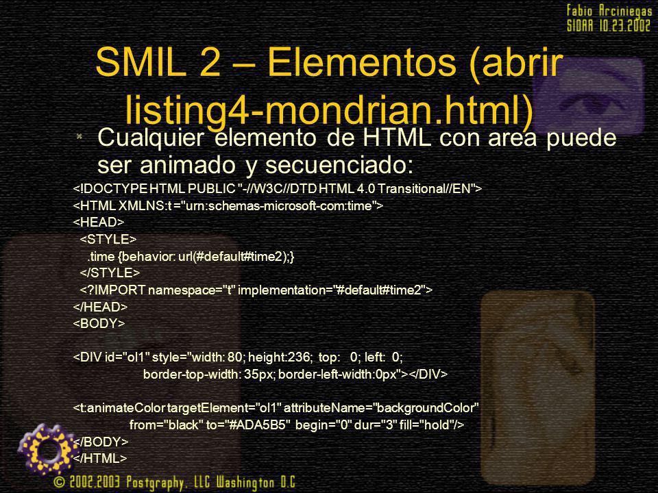 SMIL 2 – Elementos (abrir listing4-mondrian.html) Cualquier elemento de HTML con area puede ser animado y secuenciado:.time {behavior: url(#default#ti