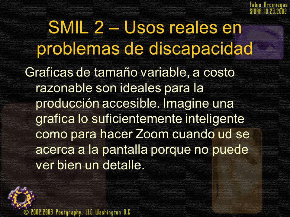 SMIL 2 – Usos reales en problemas de discapacidad Graficas de tamaño variable, a costo razonable son ideales para la producción accesible. Imagine una