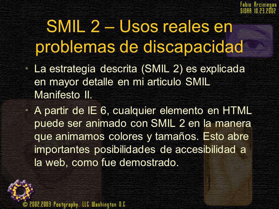 SMIL 2 – Usos reales en problemas de discapacidad La estrategia descrita (SMIL 2) es explicada en mayor detalle en mi articulo SMIL Manifesto II. A pa
