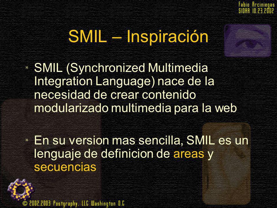 SMIL – Inspiración SMIL (Synchronized Multimedia Integration Language) nace de la necesidad de crear contenido modularizado multimedia para la web En