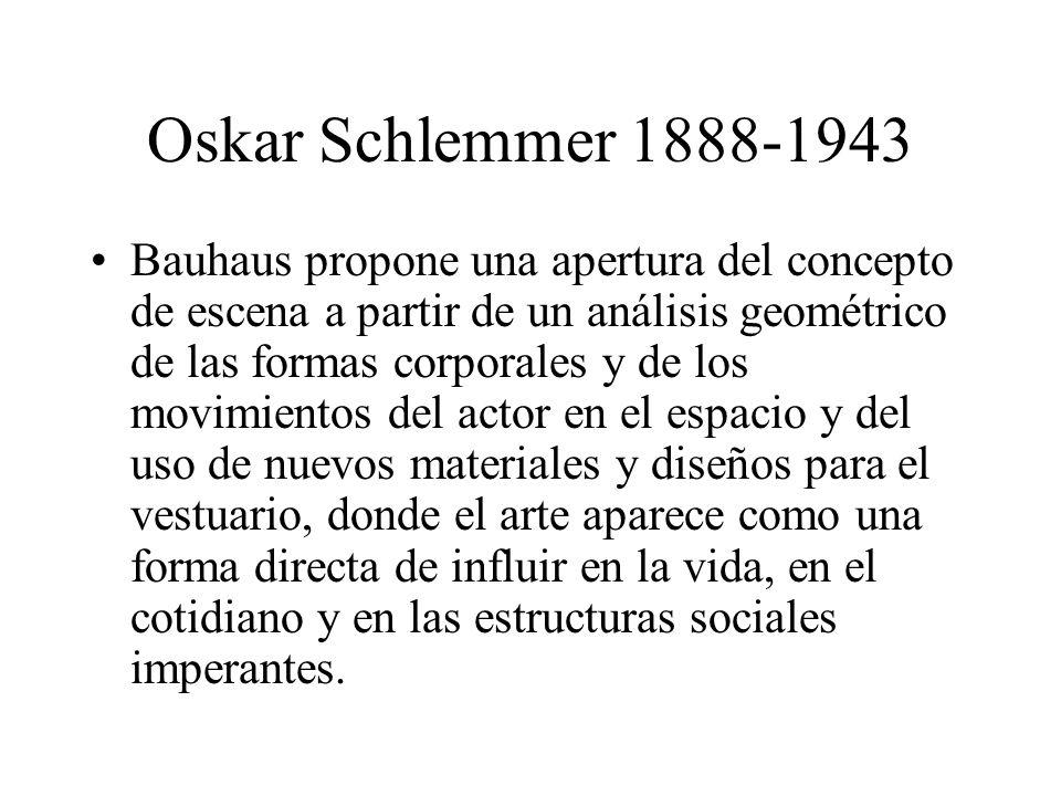 Oskar Schlemmer 1888-1943 Bauhaus propone una apertura del concepto de escena a partir de un análisis geométrico de las formas corporales y de los mov