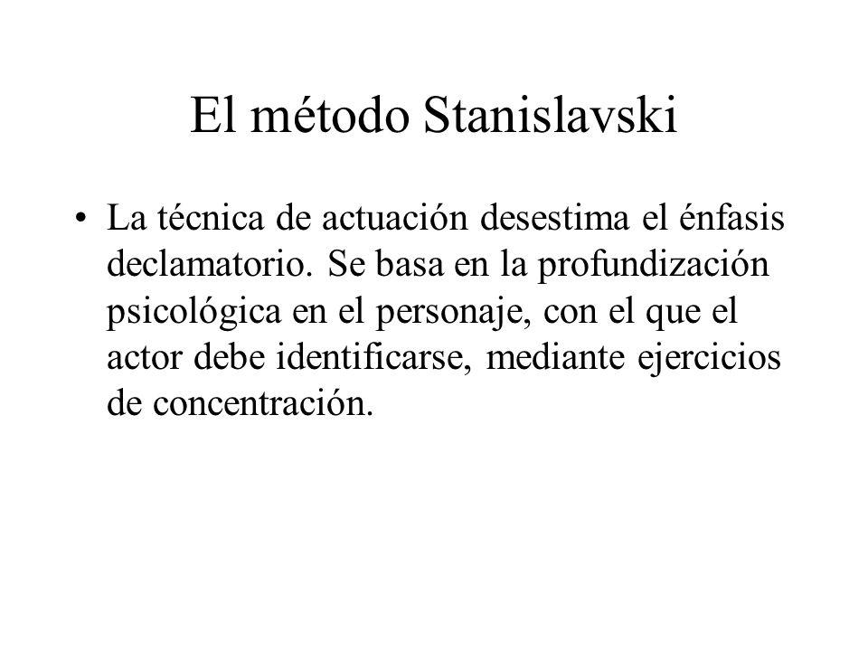 El método Stanislavski La técnica de actuación desestima el énfasis declamatorio. Se basa en la profundización psicológica en el personaje, con el que