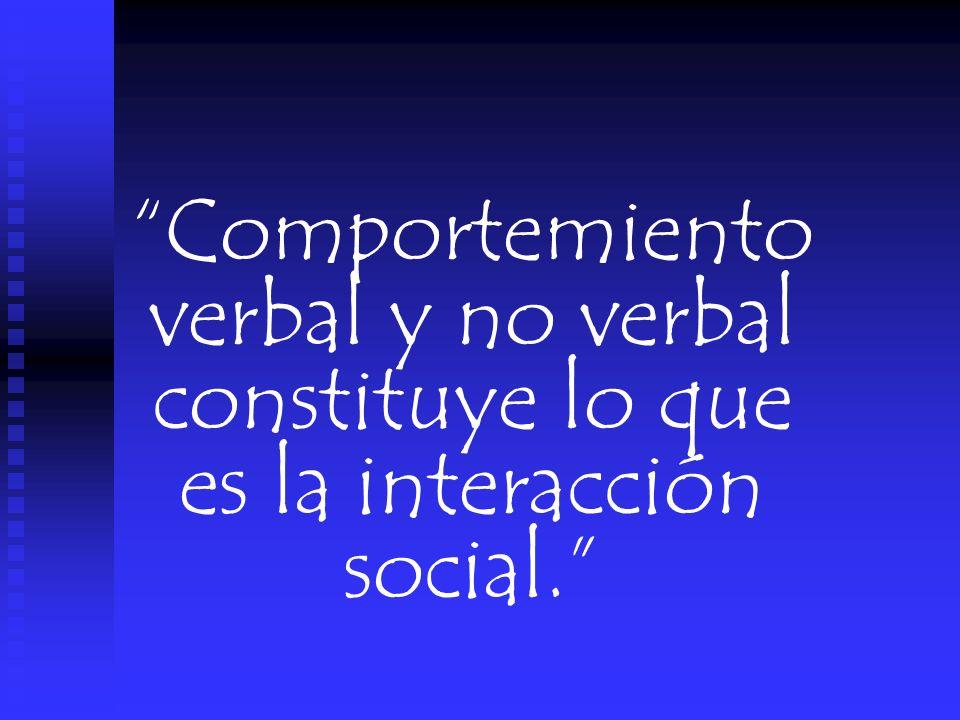 Comportemiento verbal y no verbal constituye lo que es la interacción social.