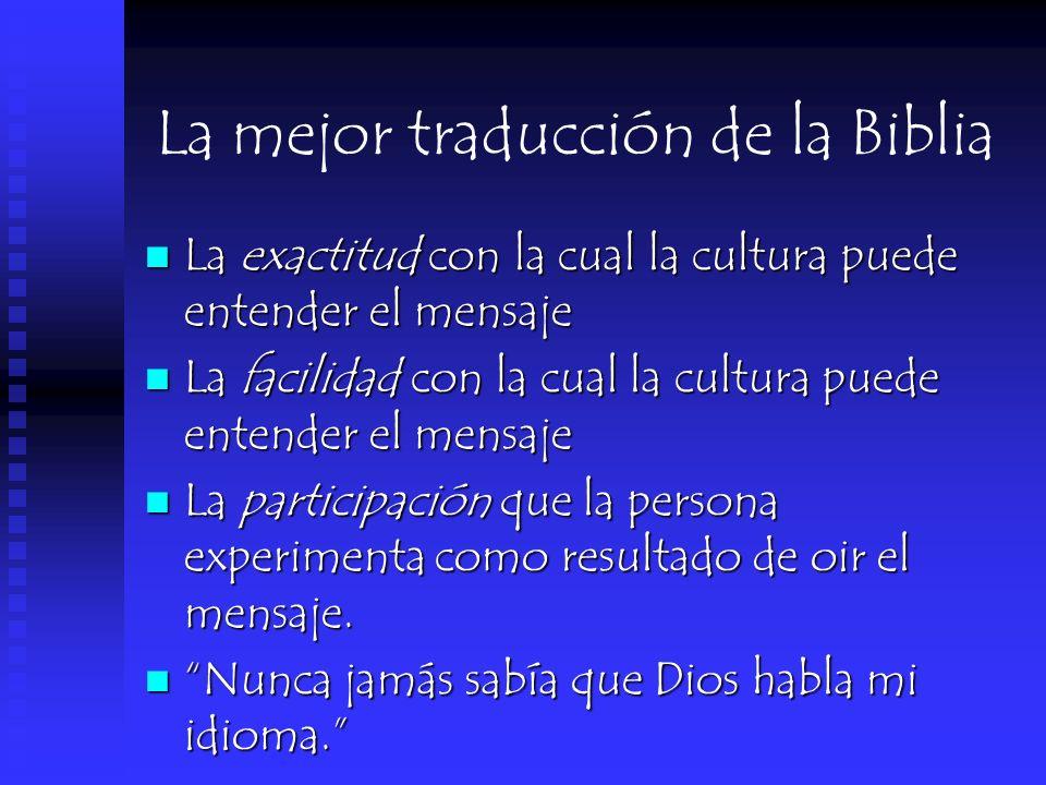 La mejor traducción de la Biblia La exactitud con la cual la cultura puede entender el mensaje La exactitud con la cual la cultura puede entender el m