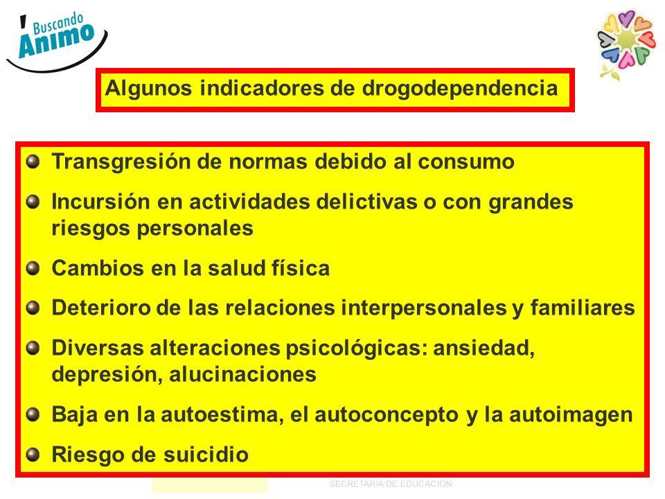 13 Algunos indicadores de drogodependencia Transgresión de normas debido al consumo Incursión en actividades delictivas o con grandes riesgos personal
