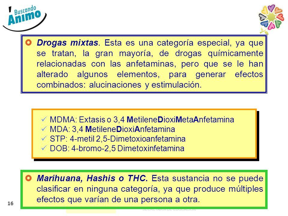 16 Drogas mixtas. Esta es una categoría especial, ya que se tratan, la gran mayoría, de drogas químicamente relacionadas con las anfetaminas, pero que