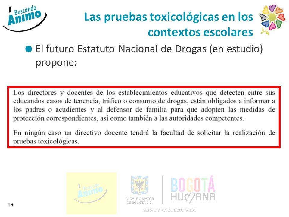 19 Las pruebas toxicológicas en los contextos escolares El futuro Estatuto Nacional de Drogas (en estudio) propone:
