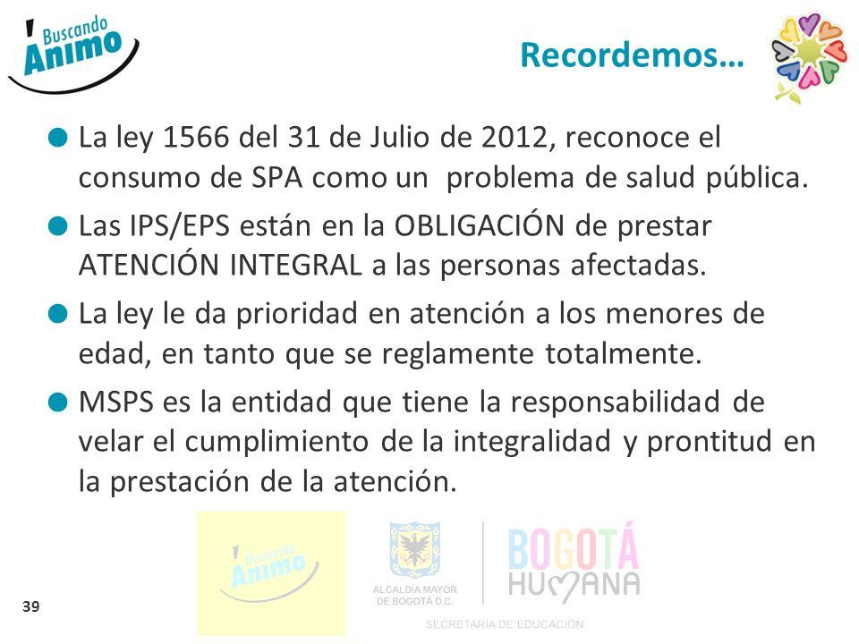 39 Recordemos… La ley 1566 del 31 de Julio de 2012, reconoce el consumo de SPA como un problema de salud pública. Las IPS/EPS están en la OBLIGACIÓN d