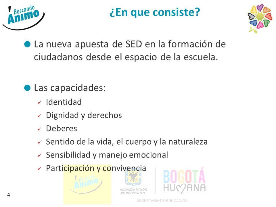 4 ¿En que consiste? La nueva apuesta de SED en la formación de ciudadanos desde el espacio de la escuela. Las capacidades: Identidad Dignidad y derech