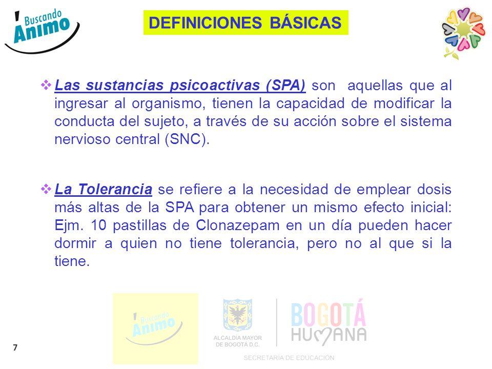 7 DEFINICIONES BÁSICAS Las sustancias psicoactivas (SPA) son aquellas que al ingresar al organismo, tienen la capacidad de modificar la conducta del s