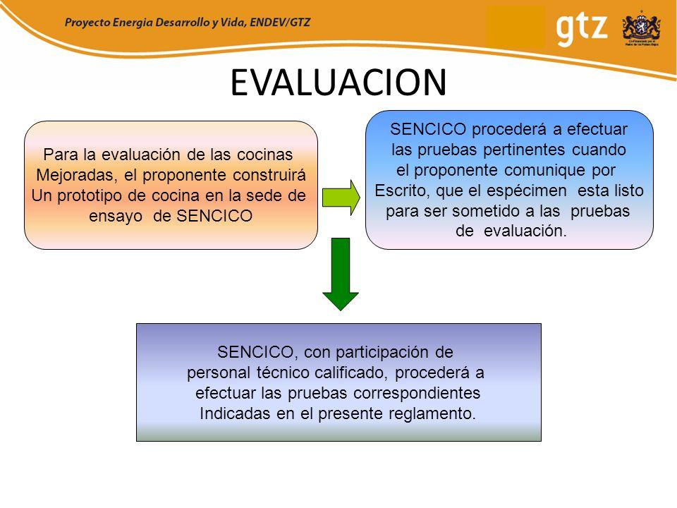 EVALUACION Para la evaluación de las cocinas Mejoradas, el proponente construirá Un prototipo de cocina en la sede de ensayo de SENCICO SENCICO proced