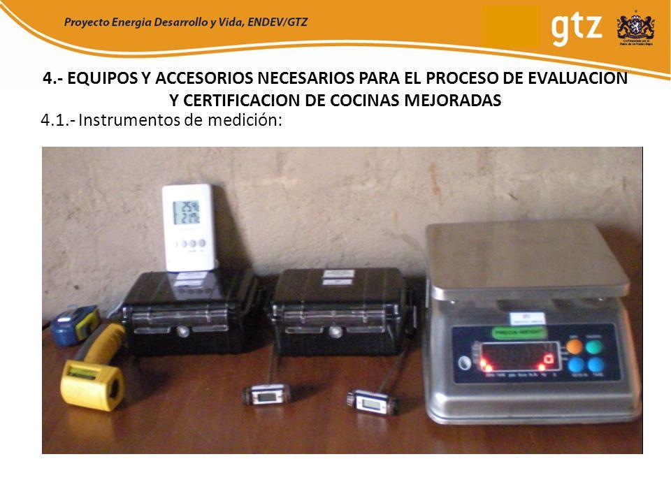 4.- EQUIPOS Y ACCESORIOS NECESARIOS PARA EL PROCESO DE EVALUACION Y CERTIFICACION DE COCINAS MEJORADAS 4.1.- Instrumentos de medición: