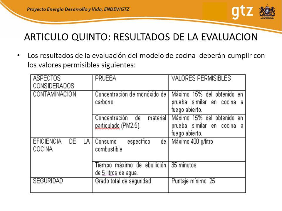 ARTICULO QUINTO: RESULTADOS DE LA EVALUACION Los resultados de la evaluación del modelo de cocina deberán cumplir con los valores permisibles siguient