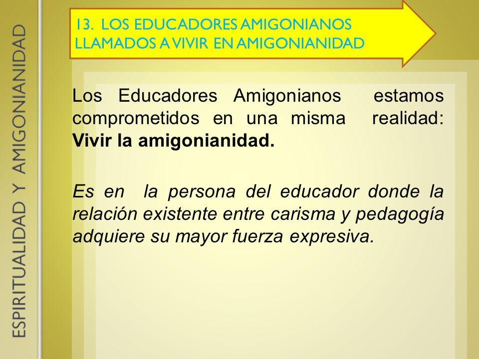 13. LOS EDUCADORES AMIGONIANOS LLAMADOS A VIVIR EN AMIGONIANIDAD Los Educadores Amigonianos estamos comprometidos en una misma realidad: Vivir la amig