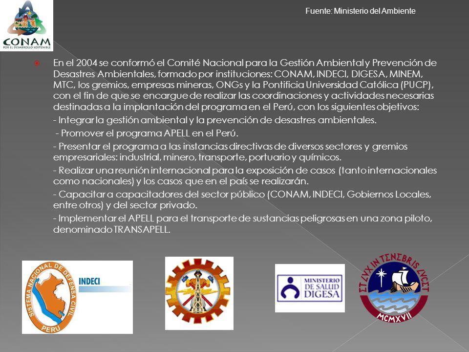 En el 2004 se conformó el Comité Nacional para la Gestión Ambiental y Prevención de Desastres Ambientales, formado por instituciones: CONAM, INDECI, D