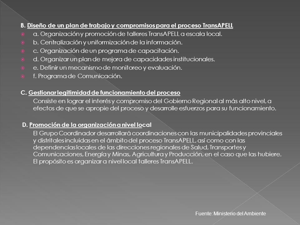 B. Diseño de un plan de trabajo y compromisos para el proceso TransAPELL a. Organización y promoción de talleres TransAPELL a escala local. b. Central