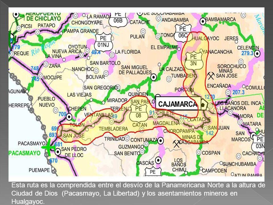 Esta ruta es la comprendida entre el desvío de la Panamericana Norte a la altura de Ciudad de Dios (Pacasmayo, La Libertad) y los asentamientos minero