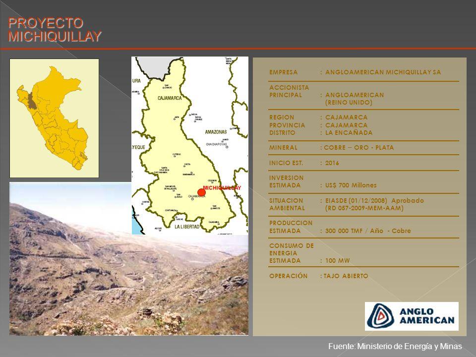 EMPRESA:MINERA YANACOCHA SRL ACCIONISTA PRINCIPAL:NEWMONT (USA) BUENAVENTURA (PERU) REGION:CAJAMARCA PROVINCIA:CAJAMARCA DISTRITO:BA Ñ OS DEL INCA MINERAL: ORO INICIO EST.:POR DEFINIR INVERSION ESTIMADA: US$ 400 Millones SITUACION:EIASDE Zona Este / Zona Oeste (26/09/2008) Aprobado AMBIENTAL(RD 245-246-2009-MEM-AAM) PROYECTOCHAQUICOCHA CHAQUICOCHA Fuente: Ministerio de Energía y Minas