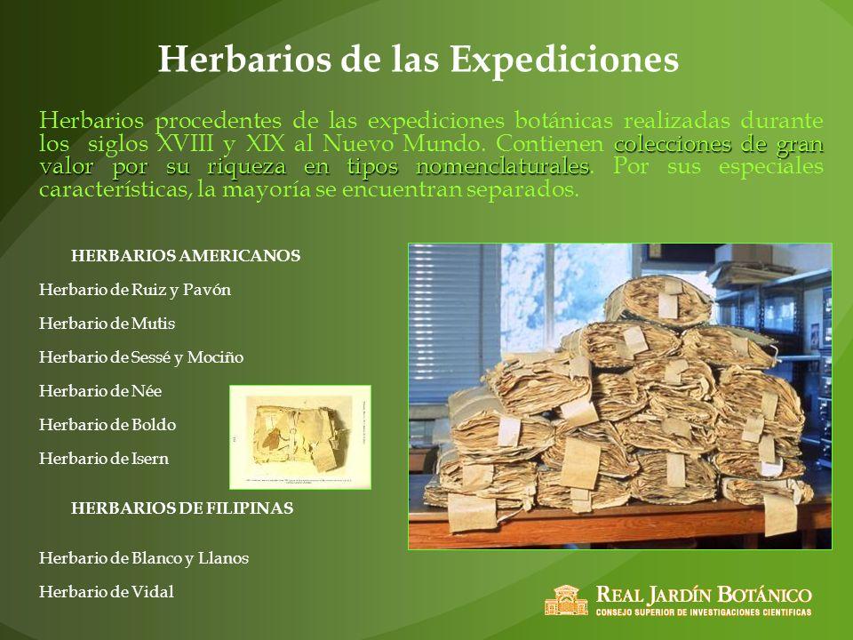Herbarios de las Expediciones HERBARIOS AMERICANOS Herbario de Ruiz y Pavón Herbario de Mutis Herbario de Sessé y Mociño Herbario de Née Herbario de B