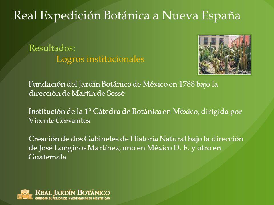 Fundación del Jardín Botánico de México en 1788 bajo la dirección de Martín de Sessé Institución de la 1ª Cátedra de Botánica en México, dirigida por