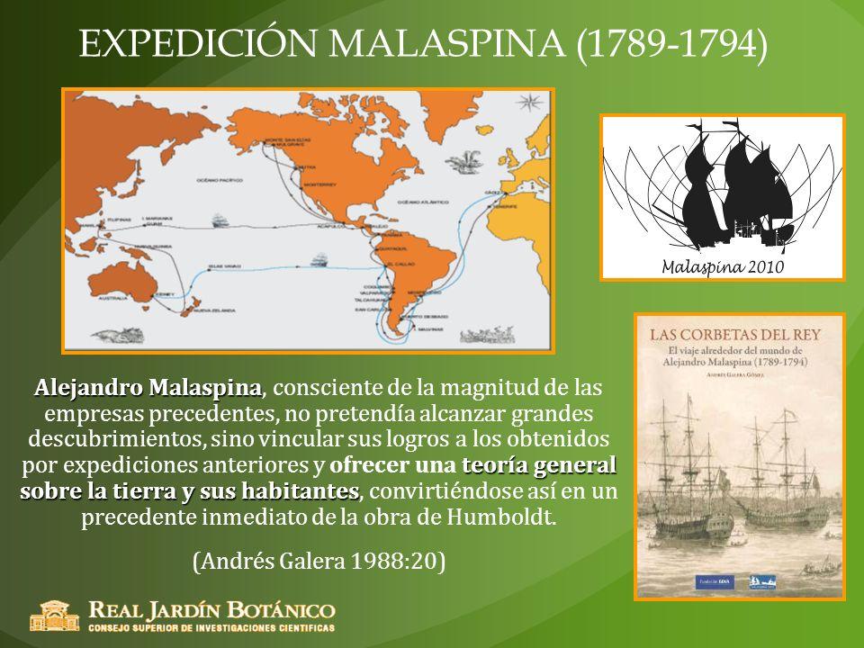 EXPEDICIÓN MALASPINA (1789-1794) Alejandro Malaspina teoría general sobre la tierra y sus habitantes Alejandro Malaspina, consciente de la magnitud de
